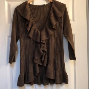 The Limited women's ruffle sweater brown large